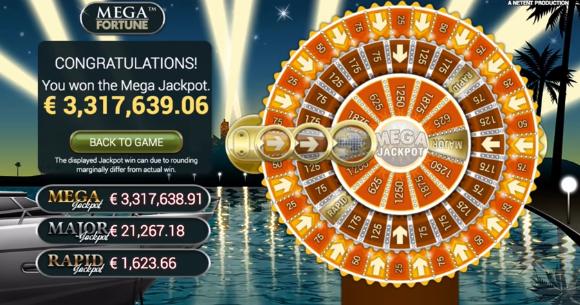 jackpott vinst i mega fortune