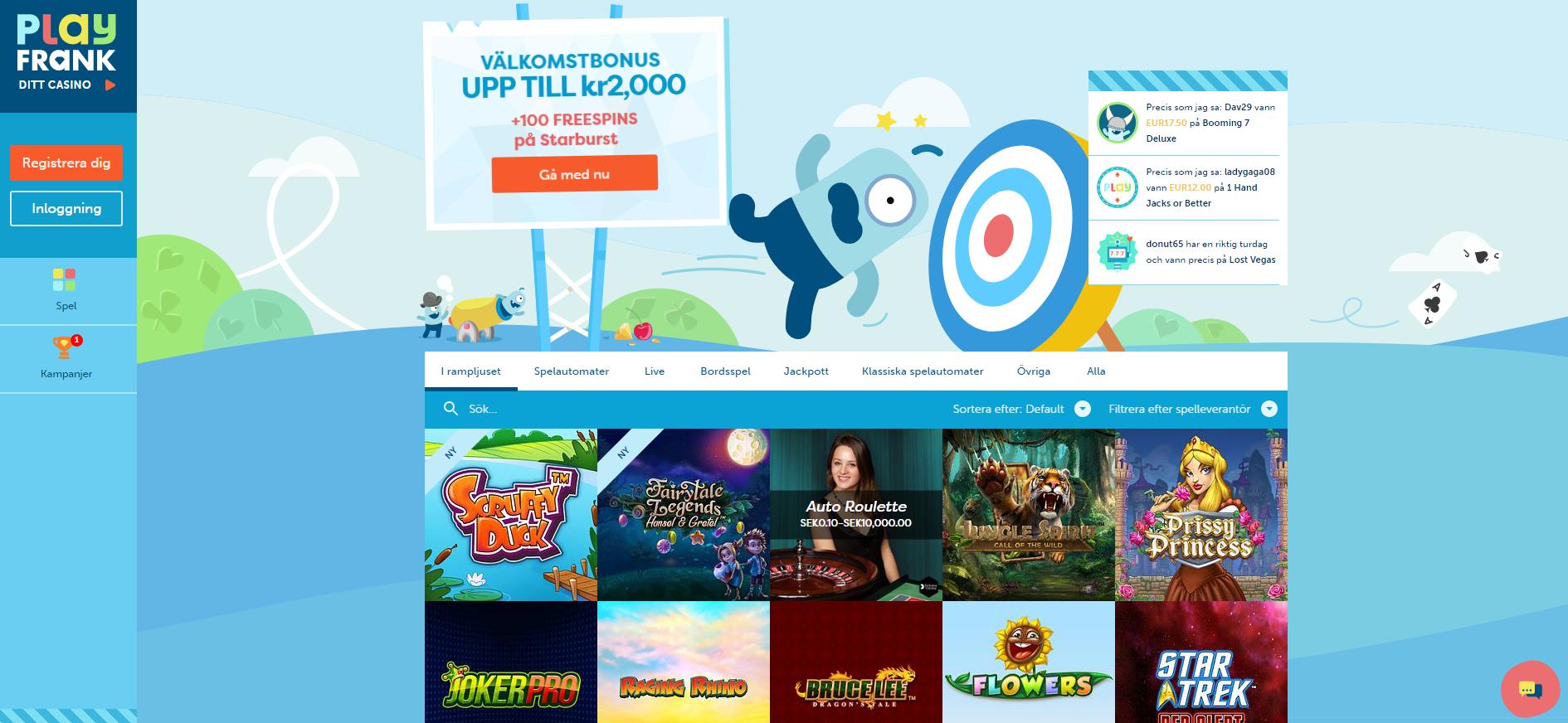 Prova nya och kanske det lekfullaste online casinot PlayFrank