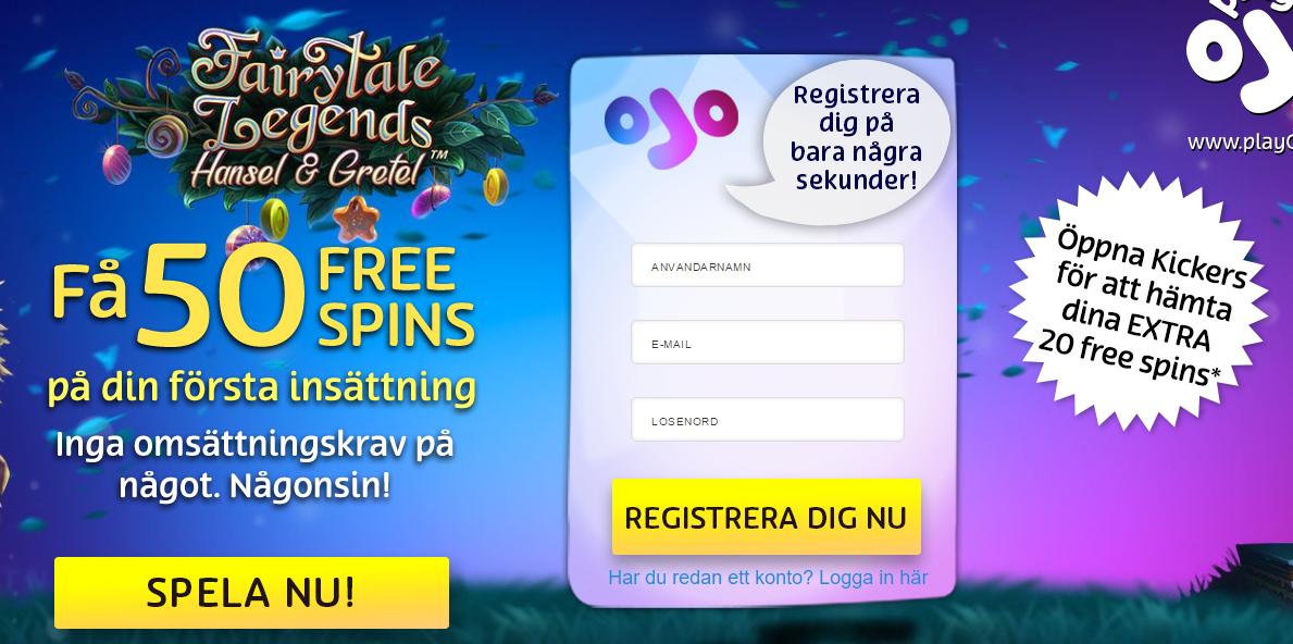 PlayOjo bjuder nu våra läsare på 20 extra free spins utan omsättning