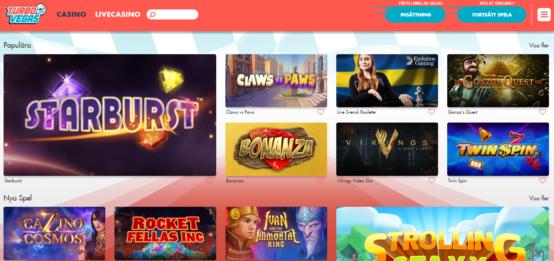 TurboVegas – ett nytt online casino med Turbo fart